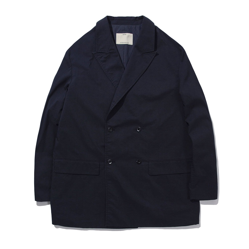[Pottery]  Cotton Double Breasted Jacket Navy